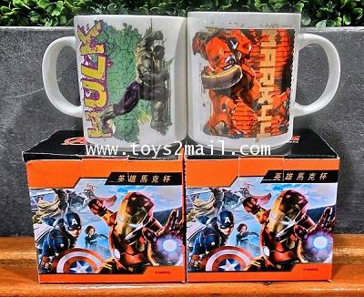 MARVEL AVENGERS Age Of Ultron : IRONMAN HULKBUSTER vs HULK COFFEE Mug From FAMILY MART Taiwan [2SET]