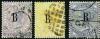 แสตมป์ไปรษณีย์กงศุลอังกฤษในกรุงเทพฯ ราคา 6, 8 และ 10 เซนต์ ลายน้ำมงกุฎ CC ใช้แล้ว