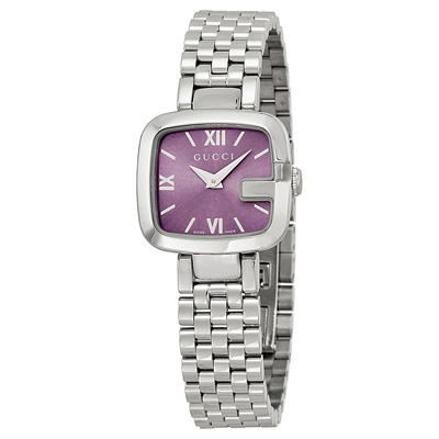GUCCI G Purple Dial Stainless Steel Small Ladies Watch Item No. YA125518